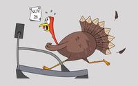 Thanksgiving turkey on a treadmill wallpaper 2880x1800 jpg