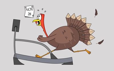 Thanksgiving turkey on a treadmill wallpaper