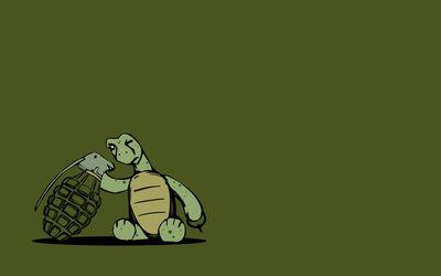 Turtle inspecting a grenade wallpaper