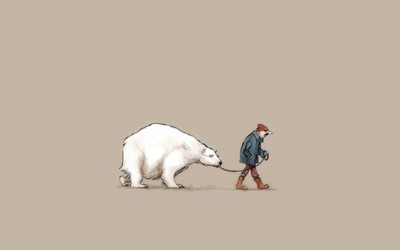 Walking a polar bear wallpaper