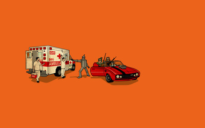 Wizard of Oz characters robbing the ambulance wallpaper