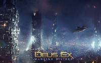 Aircraft over the city in Deus Ex: Mankind Divided wallpaper 3840x2160 jpg