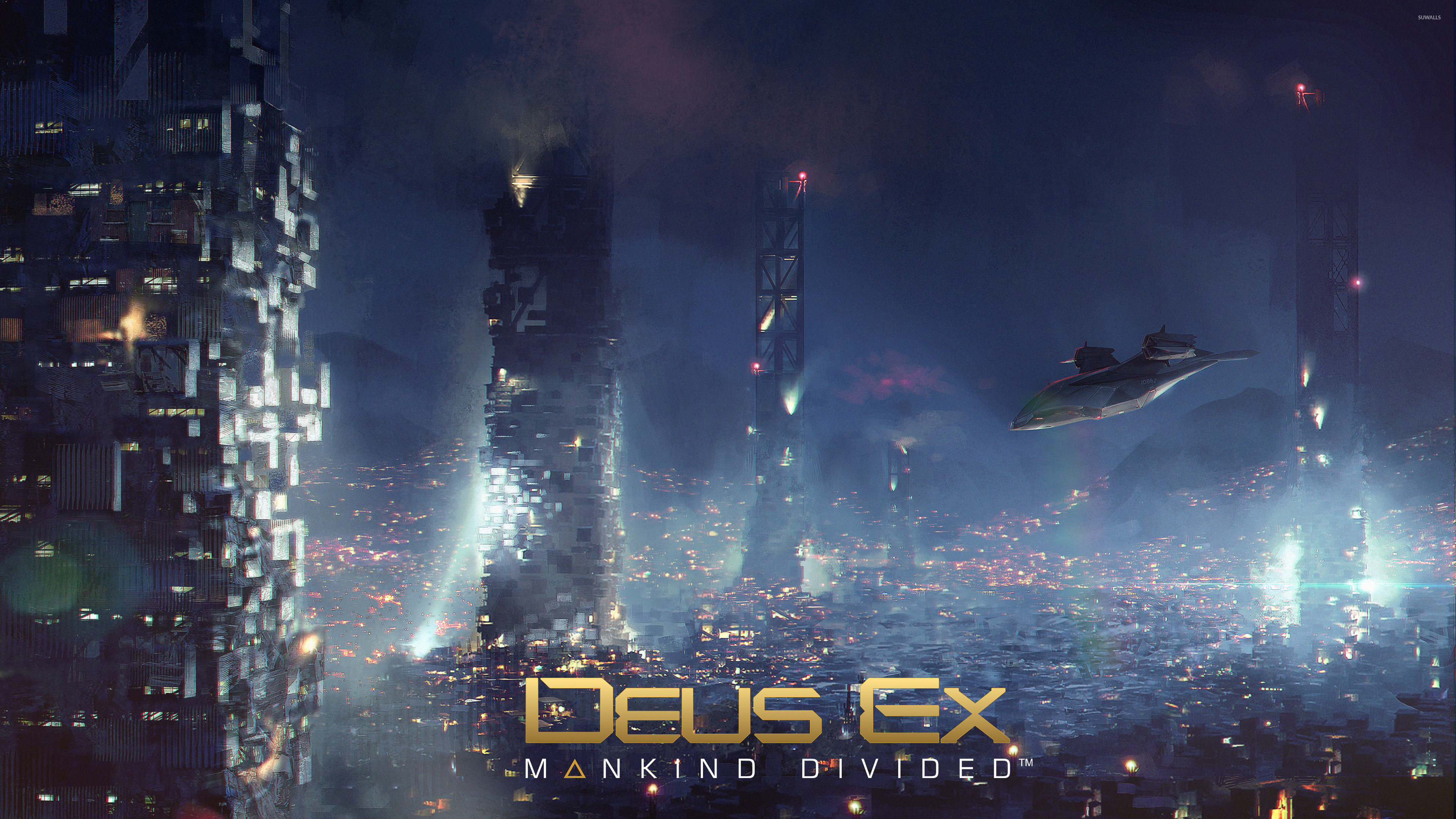 Aircraft Over The City In Deus Ex Mankind Divided Wallpaper