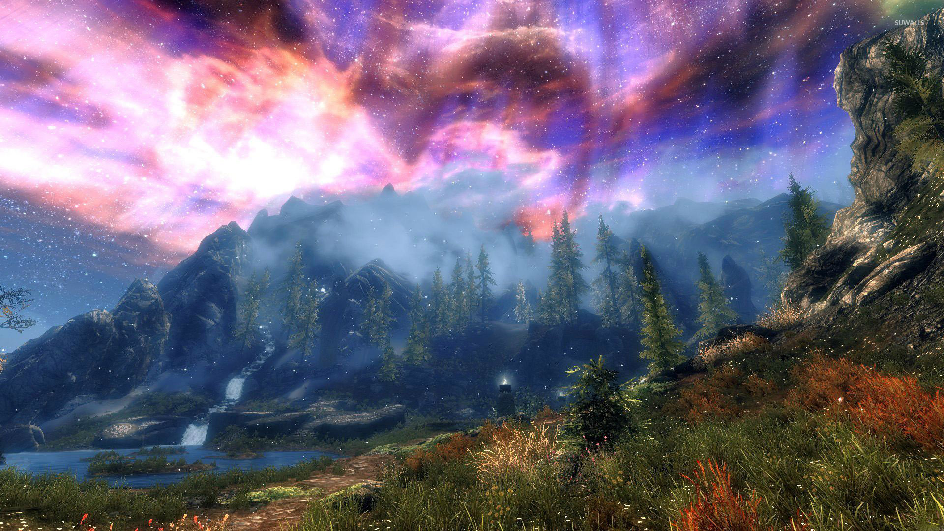 Amazing sky in The Elder Scrolls V Skyrim wallpaper Game