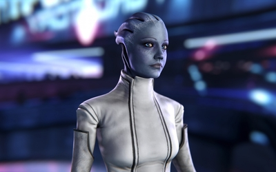 Asari in a white suit - Mass Effect wallpaper
