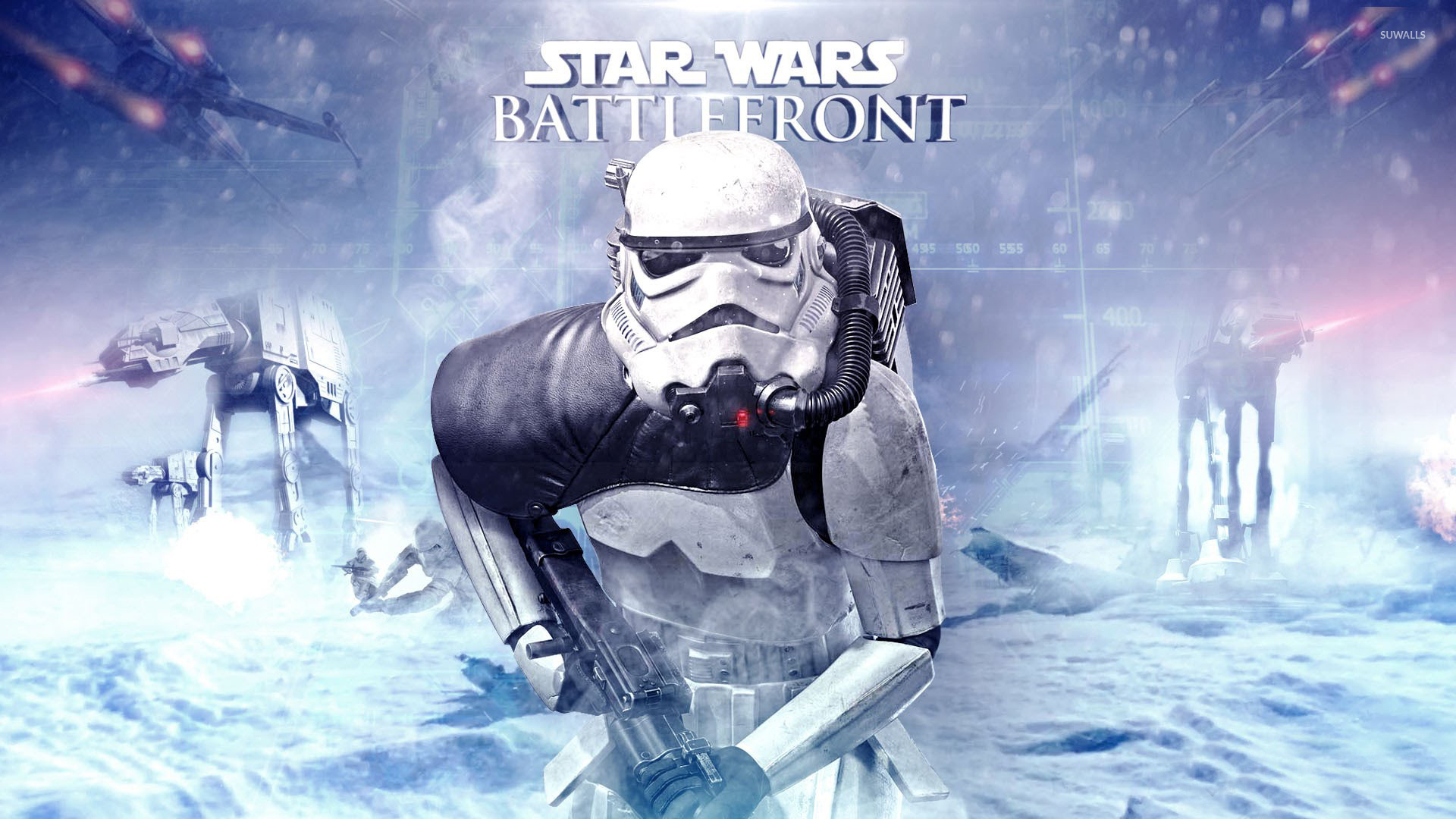 At Ats And Stormtrooper In Star Wars Battlefront Wallpaper Game