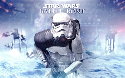 AT-ATs and stormtrooper in Star Wars Battlefront wallpaper