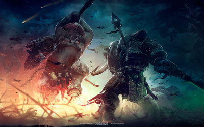 Warrior fighting a monster in  The Godlike wallpaper