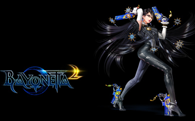 Bayonetta holding two guns in Bayonetta 2 wallpaper