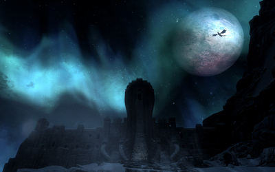 Big moon above the castle in The Elder Scrolls V: Skyrim wallpaper