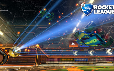 Blue cars in the air in Rocket League wallpaper