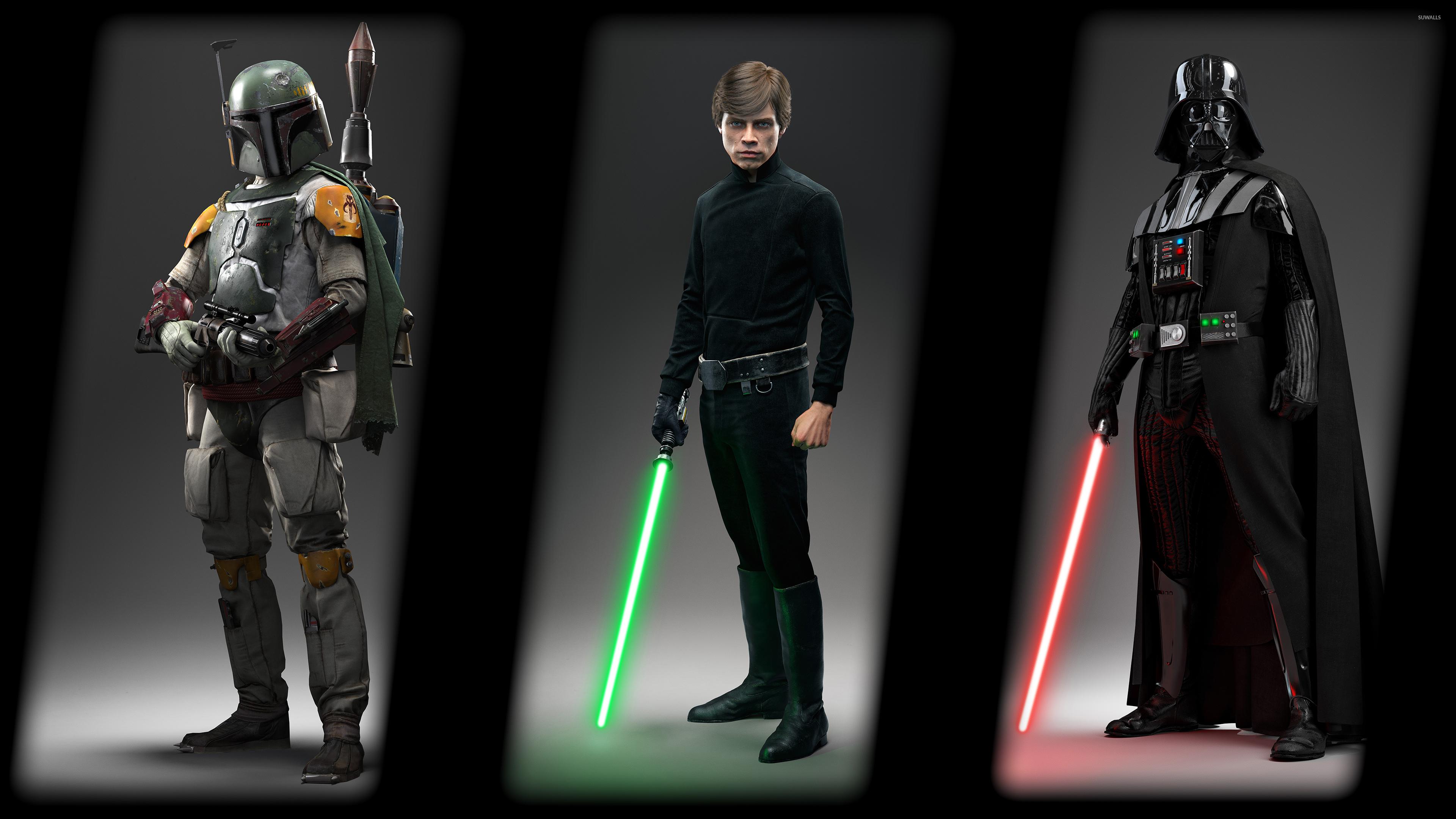 Boba Fett Luke Darth Vader Star Wars Battlefront Wallpaper