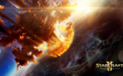 Burning spaceship in StarCraft II: Legacy of the Void wallpaper