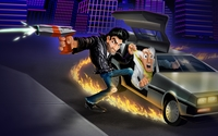 Burning tires of a car in Retro City Rampage wallpaper 1920x1080 jpg