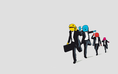 Business Pac-Man chased by ghosts wallpaper