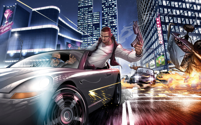 Car chase in Grand Theft Auto wallpaper