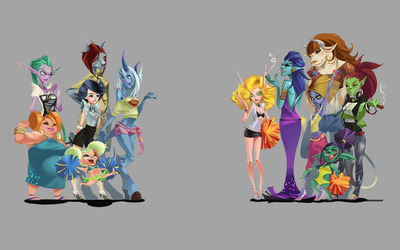 Caricatured female characters from World of Warcraft wallpaper