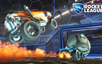 Cars about to scoare a goal in Rocket League wallpaper 1920x1080 jpg