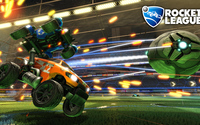 Cars chasing the ball in Rocket League wallpaper 1920x1080 jpg