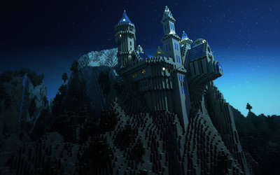 Castle on a cliff in Minecraft wallpaper