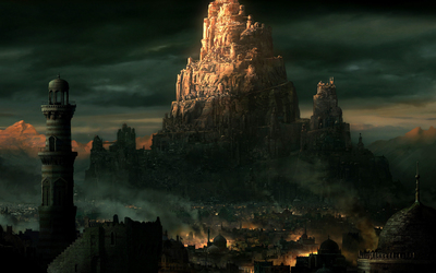 City on a rocky cliff in Prince of Persia: The Two Thrones Wallpaper