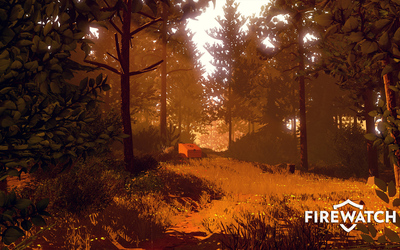 Clearing in the woods in Firewatch wallpaper