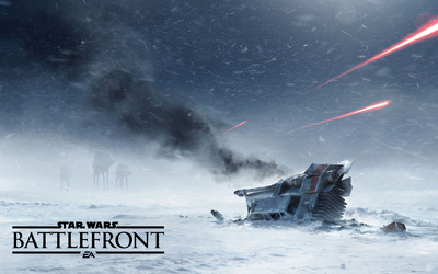 Crashed T-47 snowspeeder in Star Wars Battlefront wallpaper