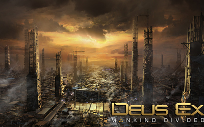 Destroyed skyscrapers in Deus Ex: Mankind Divided wallpaper