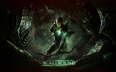 Drew holding a bow in Scalebound wallpaper