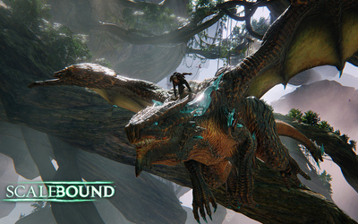 Drew riding on Thuban's head in Scalebound wallpaper