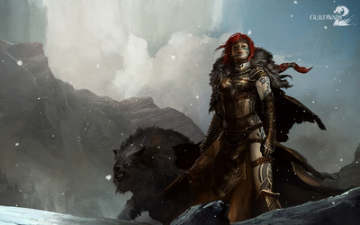Female warrior with a giant wolf in Guild Wars 2 wallpaper