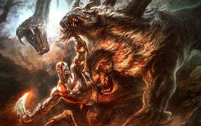 Fighting Kratos in God of War wallpaper