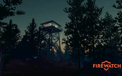 Fire lookout tower in the night - Firewatch wallpaper