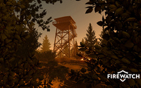 Fire lookout tower seen from the forest - Firewatch wallpaper 1920x1080 jpg
