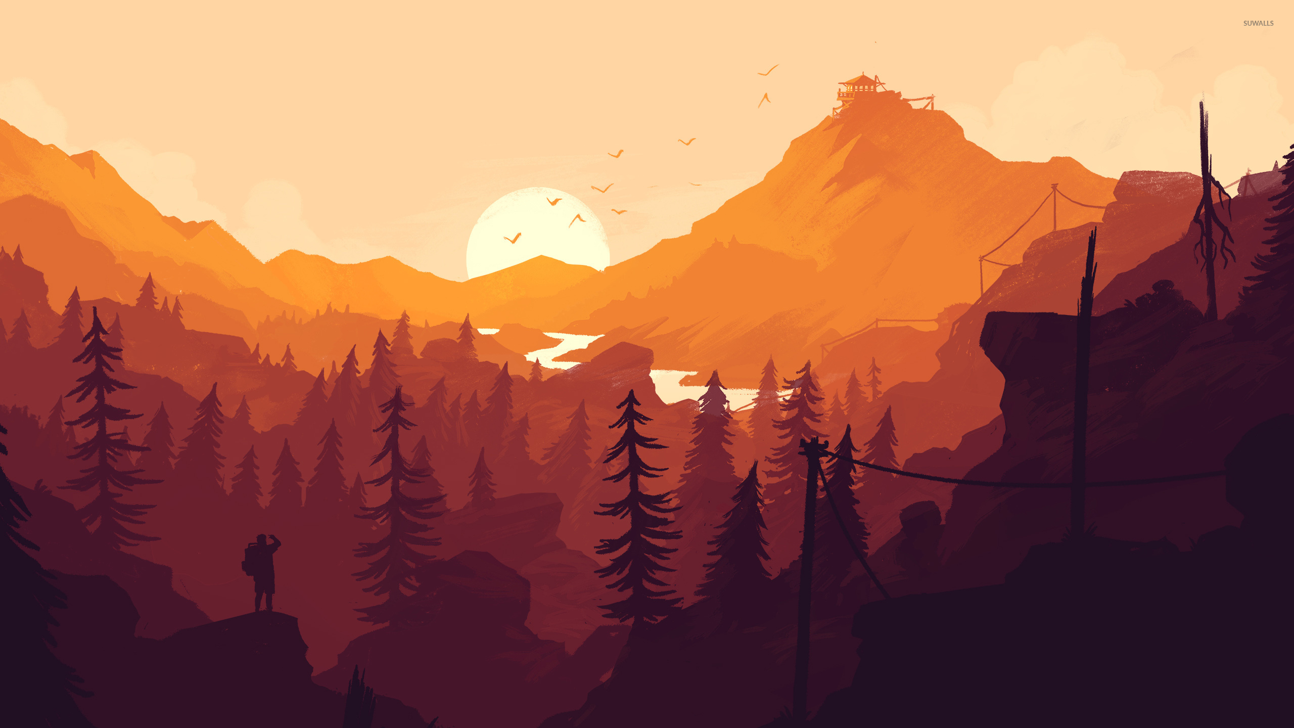 Orange sunset in Firewatch wallpaper Game wallpapers 53317