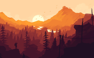 Orange sunset in Firewatch Wallpaper