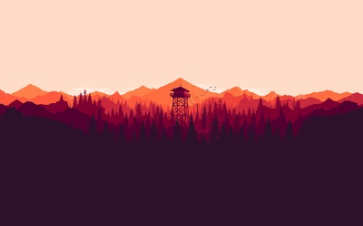 Firewatch forest at sunset wallpaper