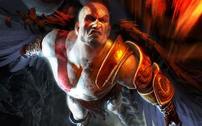 Flying Kratos in God of War wallpaper