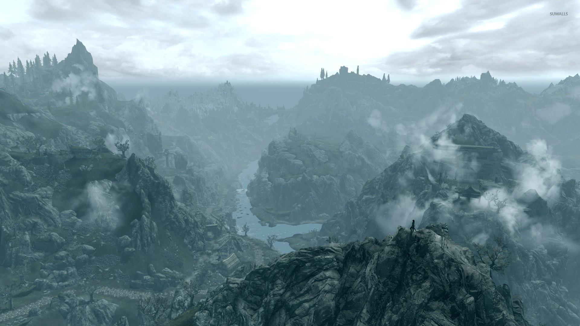 Foggy Mountains In The Elder Scrolls V Skyrim Wallpaper