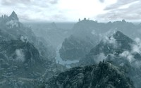 Foggy mountains in The Elder Scrolls V: Skyrim wallpaper 1920x1080 jpg
