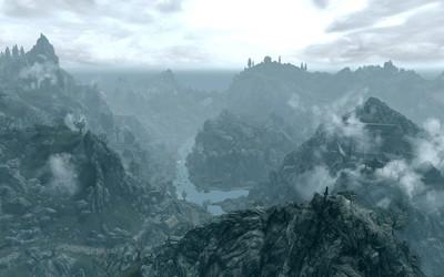 Foggy mountains in The Elder Scrolls V: Skyrim wallpaper