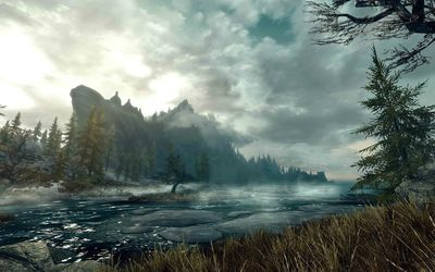 Foggy river in The Elder Scrolls V: Skyrim wallpaper