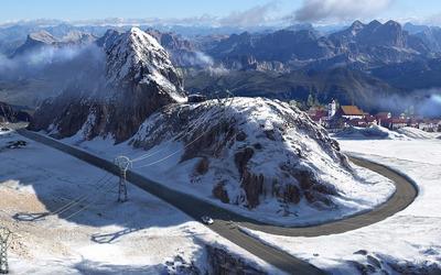 Forza Motorsport 4 track through snowy mountains wallpaper
