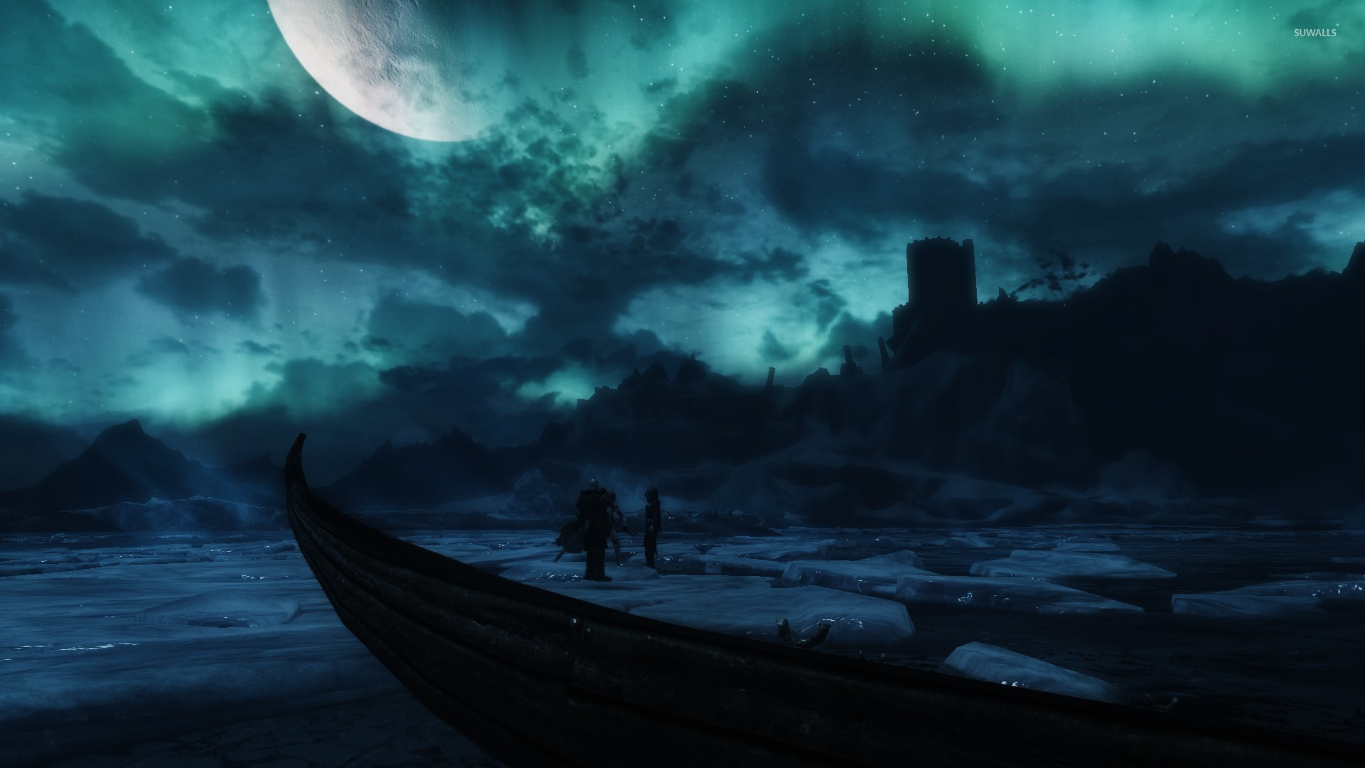 Frozen lake in The Elder Scrolls V Skyrim wallpaper Game