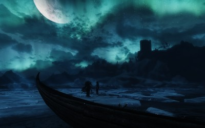 Frozen lake in The Elder Scrolls V: Skyrim wallpaper