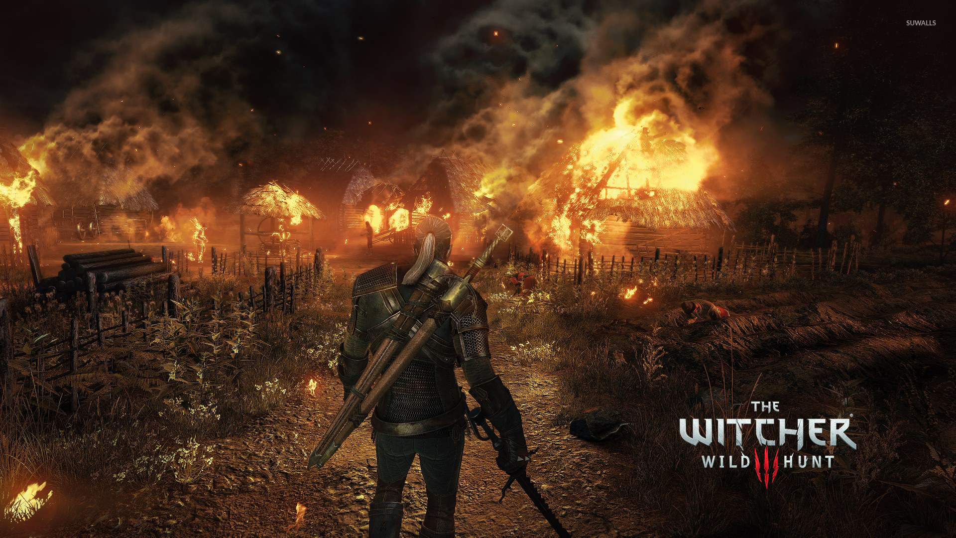 geralt in the burning village the witcher 3 wild hunt