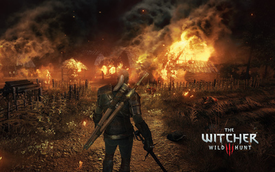 Geralt in the burning village - The Witcher 3: Wild Hunt wallpaper