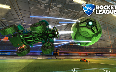 Green car and ball in Rocket League wallpaper