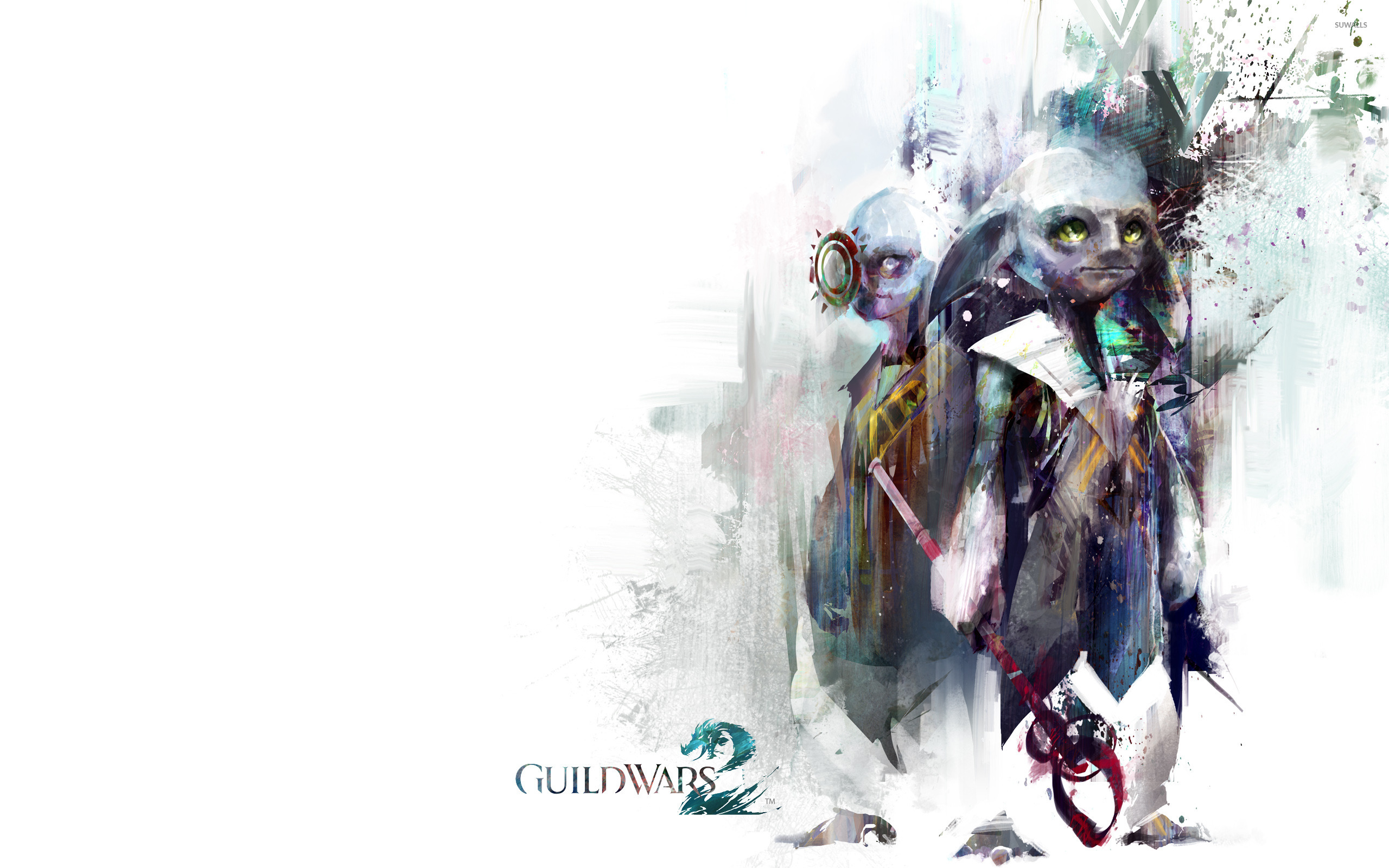 Female warrior with a giant wolf in Guild Wars 2 wallpaper - Game