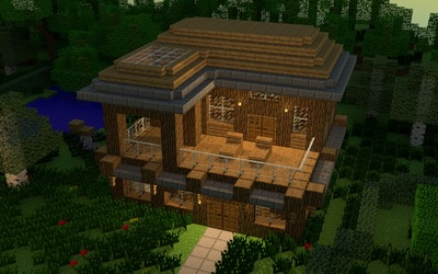 House in minecraft wallpaper